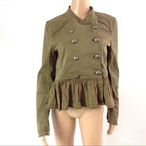 Free People Denim Fringed Military Peplum Jacket